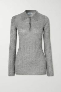 Prada - Ribbed Cashmere And Silk-blend Sweater - Gray