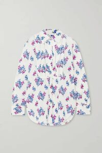 AREA - Crystal-embellished Floral-print Crepe Blouse - White