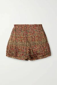 Khaite - Hilary Pleated Floral-print Twill Shorts - Gold