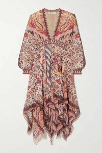 Etro - Asymmetric Cotton Jacquard-trimmed Printed Silk-chiffon Dress - Burgundy