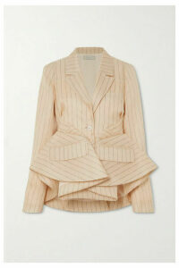 Nina Ricci - Gathered Pinstriped Silk Peplum Blazer - Beige