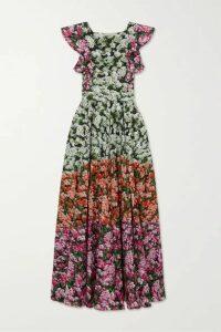 Mary Katrantzou - Noor Belted Ruffled Floral-print Cotton-blend Maxi Dress - Pink