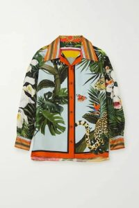 Dolce & Gabbana - Oversized Printed Silk-blend Twill Blouse - Green