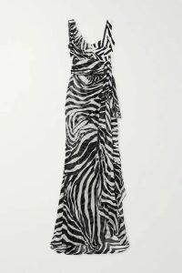 Dolce & Gabbana - Draped Zebra-print Silk-blend Georgette Gown - White