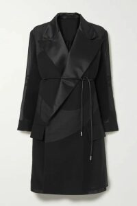 Sacai - Belted Satin-trimmed Cotton-blend Poplin And Pleated Chiffon Coat - Black