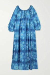 RIANNA + NINA - Reggina Pleated Printed Silk-twill Maxi Dress - Blue