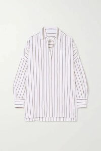 Brunello Cucinelli - Bead-embellished Striped Cotton-blend Shirt - White