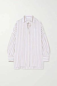 Brunello Cucinelli - Bead-embellished Striped Cotton-blend Shirt - White
