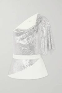 Safiyaa - One-shoulder Belted Chainmail And Crepe Top - Ivory