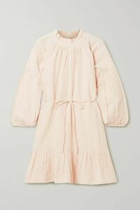 APIECE APART - Victoria Belted Gathered Ruffled Cotton-gauze Mini Dress - Blush