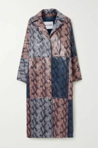 Stand Studio - Stacy Patchwork Snake-effect Faux Leather Coat - Gray