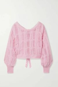 LoveShackFancy - Eugenia Cropped Bow-embellished Metallic Open-knit Sweater - Pink