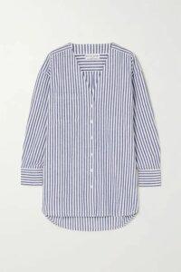 APIECE APART - Varna Oversized Striped Cotton And Linen-blend Shirt - Light blue