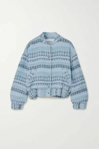 IRO - Loupian Padded Textured Cotton-blend Bomber Jacket - Blue