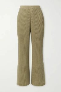 Lauren Manoogian - Column Ribbed Organic Cotton And Mulberry Silk-blend Wide-leg Pants - Army green