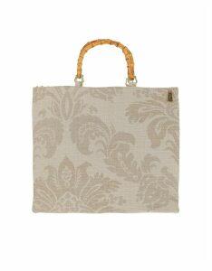 LaMILANESA Designer Handbags, Large Jacquard Canvas Tote Bag