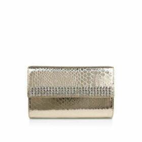Carvela Galore - Gold Snake Print Embellished Clutch Bag