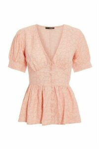 Pink Floral Puff Sleeve Peplum Top