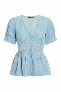 Blue Floral Puff Sleeve Peplum Top