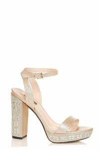 Rose Gold Metallic Diamante Heel Sandals