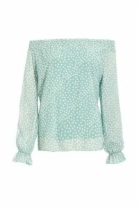 Mint Chiffon Polka Dot Bardot Top