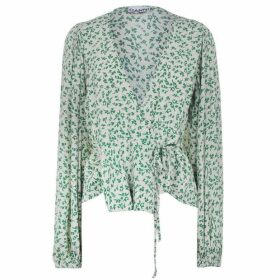 Ganni Mini Flower Wrap Blouse