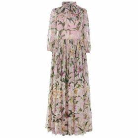 Dolce and Gabbana Lily Print Chiffon Dress