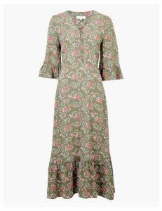 Per Una Floral Print Midi Waisted Dress