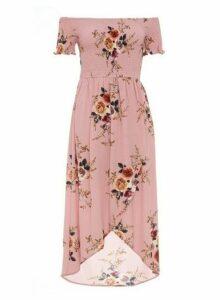 Womens *Quiz Pink Floral Bardot Wrap Dress, Pink