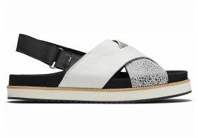 TOMS Black Leather Leopard Marisa Women's Sandals - Size UK7