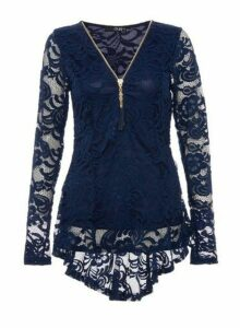 Womens *Quiz Navy Lace Zip Front Top, Navy