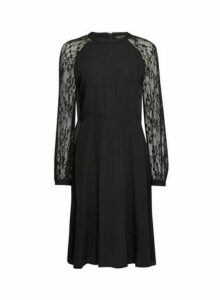 Womens Black Lace Sleeve Fit And Flare Dress, Black