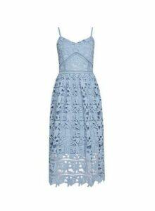 Womens **Vero Moda Blue Crochet Lace Midi Dress, Blue
