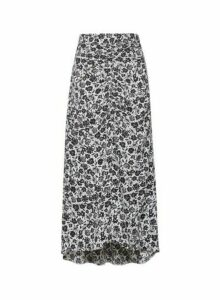 Womens Black Mono Floral Print Ruched Midi Skirt, Black