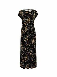 Womens Petite Black Spot And Floral Print Maxi Dress, Black