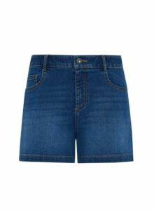 Womens Indigo Denim Notch Side Shorts - Blue, Blue