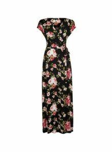 Womens Black Floral Print Wrap Jersey Maxi Dress, Black