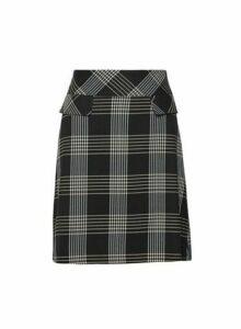 Womens Black Check Print Mini Skirt, Black