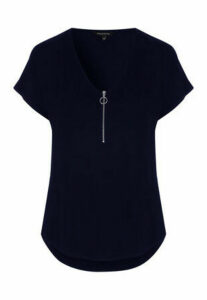 Womens Blue Zip Front T-Shirt