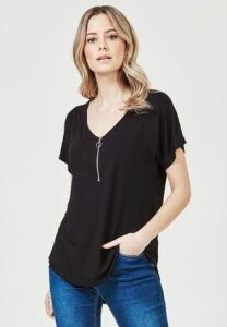 Womens Black Zip Front T-Shirt