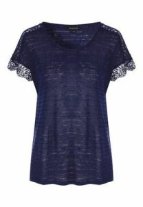 Womens Navy Lace And Stripe T-Shirt