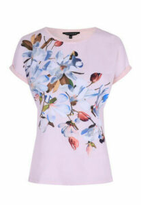 Womens Pale Pink Floral T-Shirt
