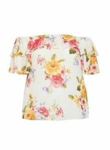 Womens **Dp Curve Multi Colour Floral Print Bardot Top, Multi Colour