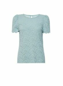 Womens Green Puff Sleeve Lace T-Shirt, Green