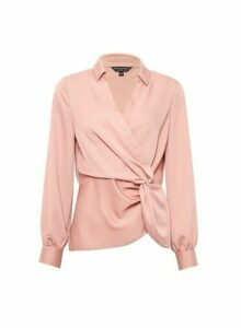 Womens Blush Twist Shirt - Pink, Pink