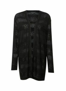 Womens Black Crochet Cardigan, Black