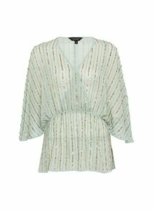 Womens Sage Sequin Batwing Sleeve Wrap Top - Green, Green