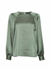 Womens Sage Satin Balloon Sleeve Top - Green, Green