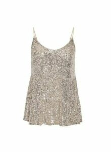 Womens Petite Tiered Sequin Camisole Top - Silver, Silver