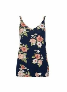 Womens Navy Floral Print Swing Camisole Top - Blue, Blue